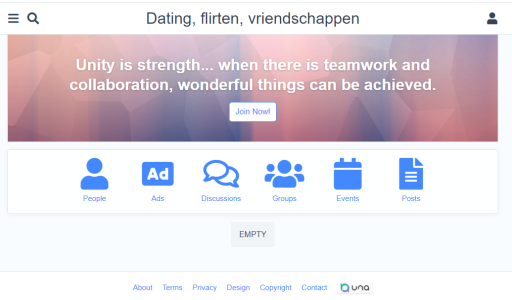 screenshot website dating voor ons (nog in ontwikkeling)